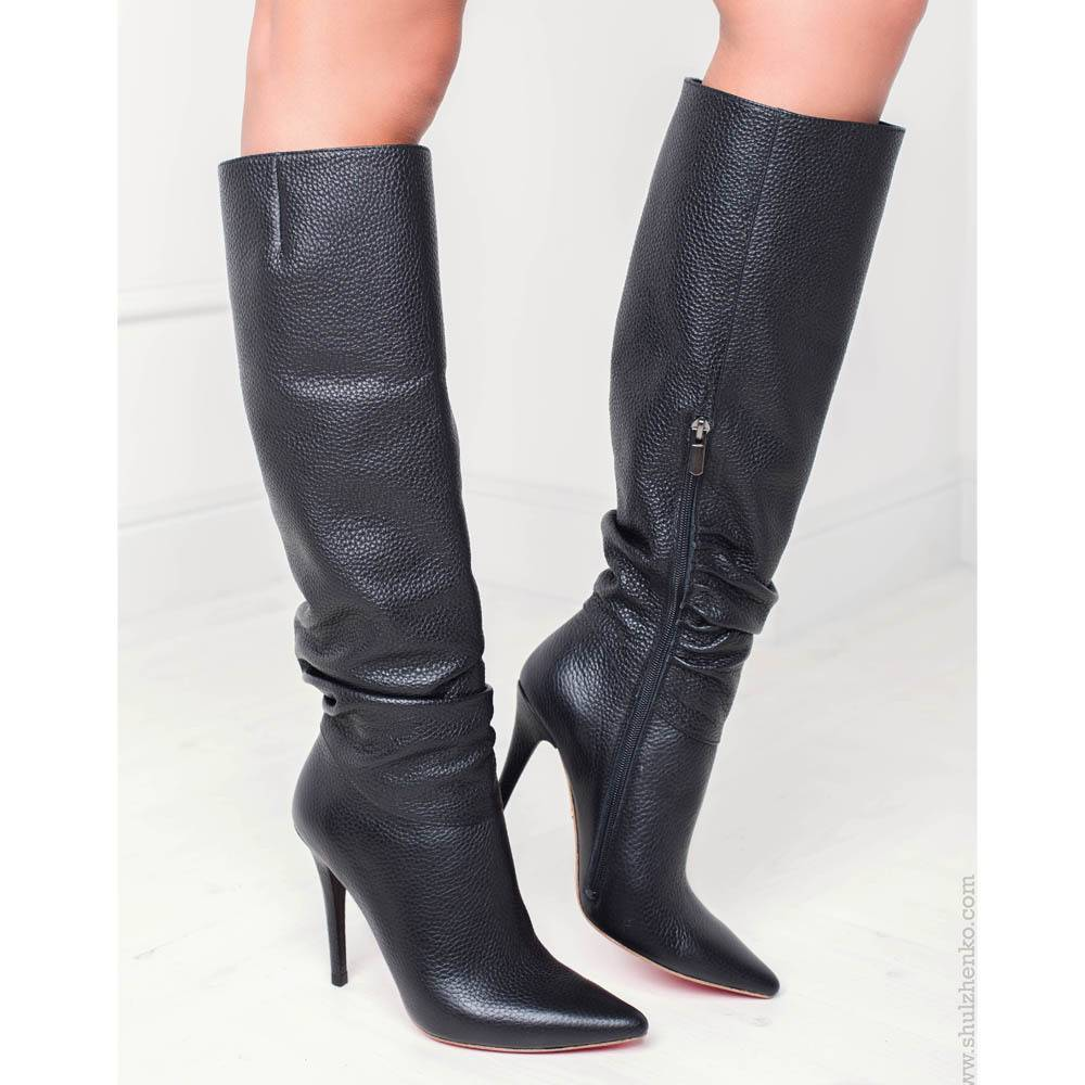 Yarose Shulzhenko Designer black leather knee boots - Sanctum Shoes