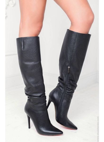 Yarose Shulzhenko Designer black leather knee boots