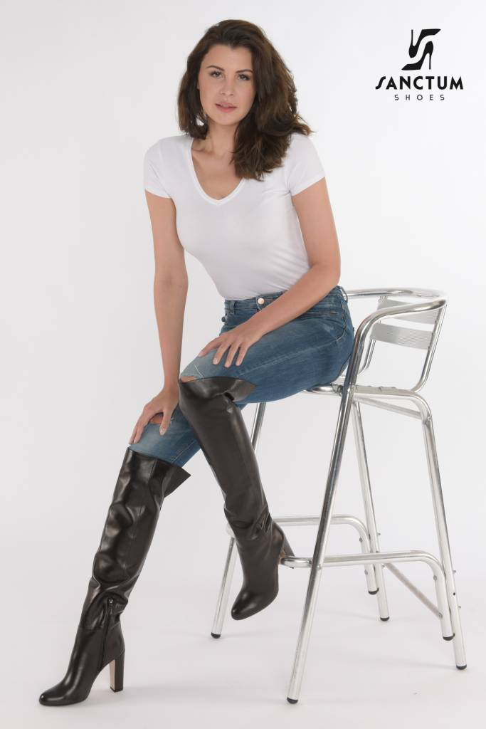 Bold Italian Leather Boots With Chunky Heels Sanctum Shoes