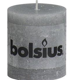 Bolsius kaarsen Stompkaars rustiek 80/68 lichtgrijs