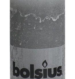 Bolsius kaarsen Stompkaars rustiek 130/68 lichtgrijs