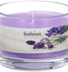 Bolsius kaarsen French lavender glass with lid 63/90
