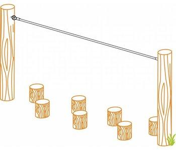 Gewapend touw - lengte 3000 mm oogbout M12 x 140 mm - groen/groen - D