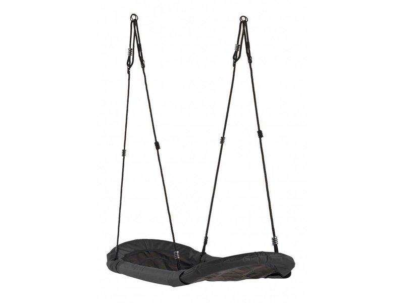 Nestschommel Sampa - gevlochten zwart touw - zwart/zwart
