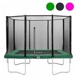 Salta Rechthoekige trampoline met veiligheidsnet  groen 214x305 + gratis trapje