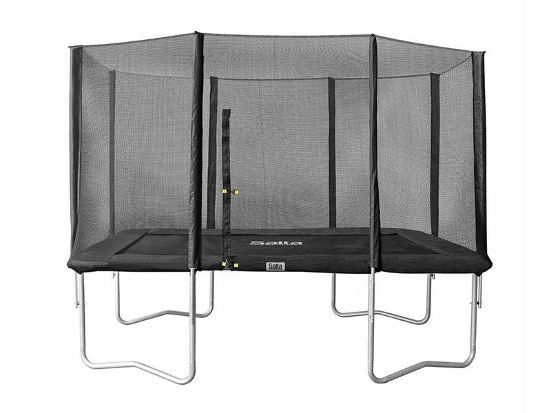 Rechthoekige trampoline met veiligheidsnet antraciet 214x305cm + gratis trapje