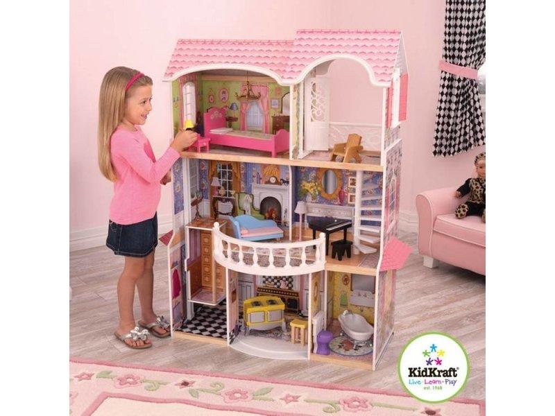 Kidkraft magnolia poppenhuis recreatiespeelgoed for Barbiehuis meubels
