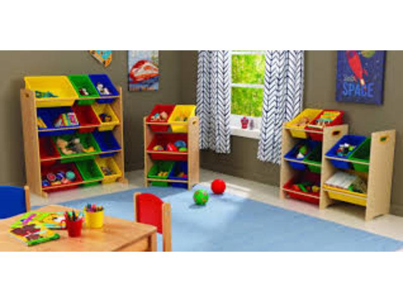 Kast Met Opbergbakken : Kast met opslagbakken in primaire kleuren recreatiespeelgoed