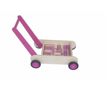 Blokken-duwwagen roze