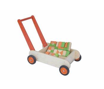 Blokken-duwwagen oranje