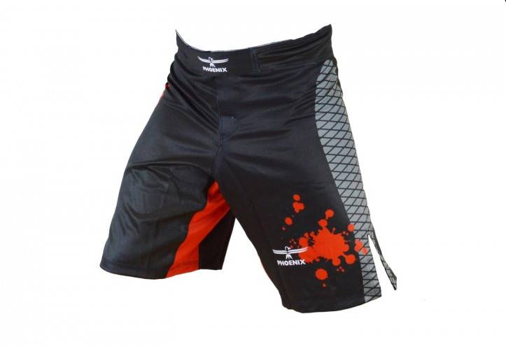 PHOENIX MMA Shorts schwarz-rot-grau, Stretch