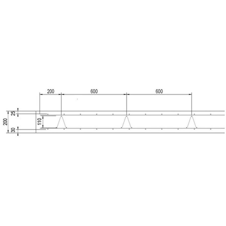 Supportligger H20 cm - lengte 200 cm