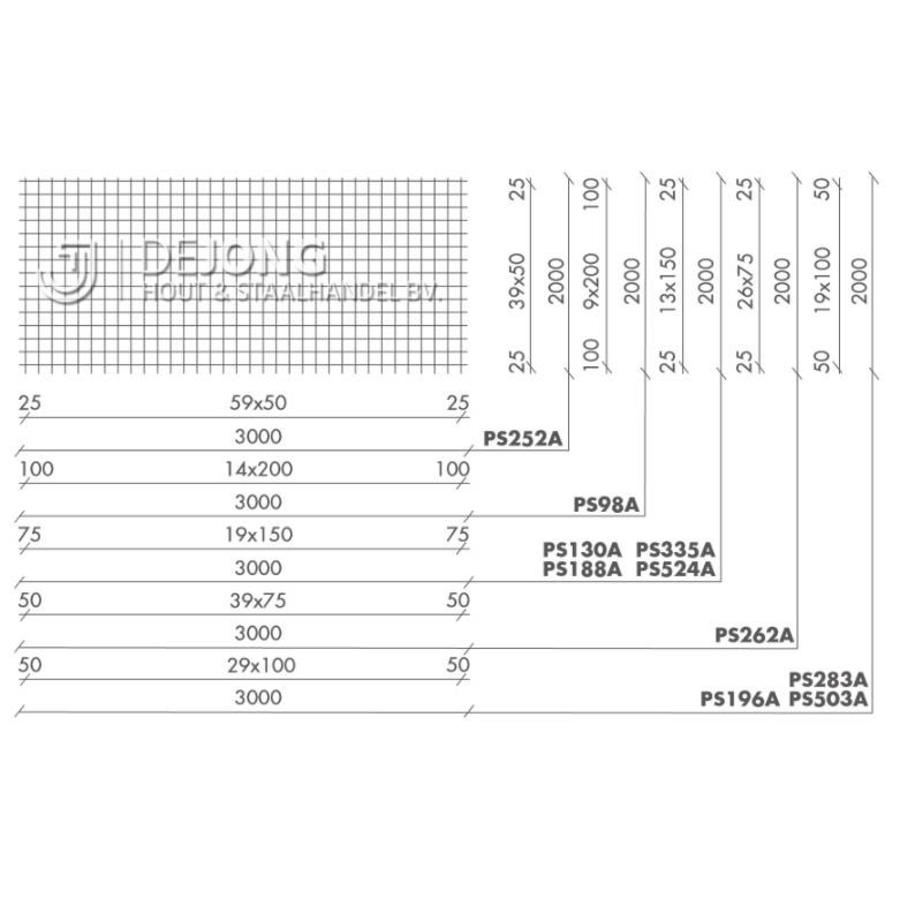 Bouwstaalmat PS262a Ø5-75 - 2 x 3 meter
