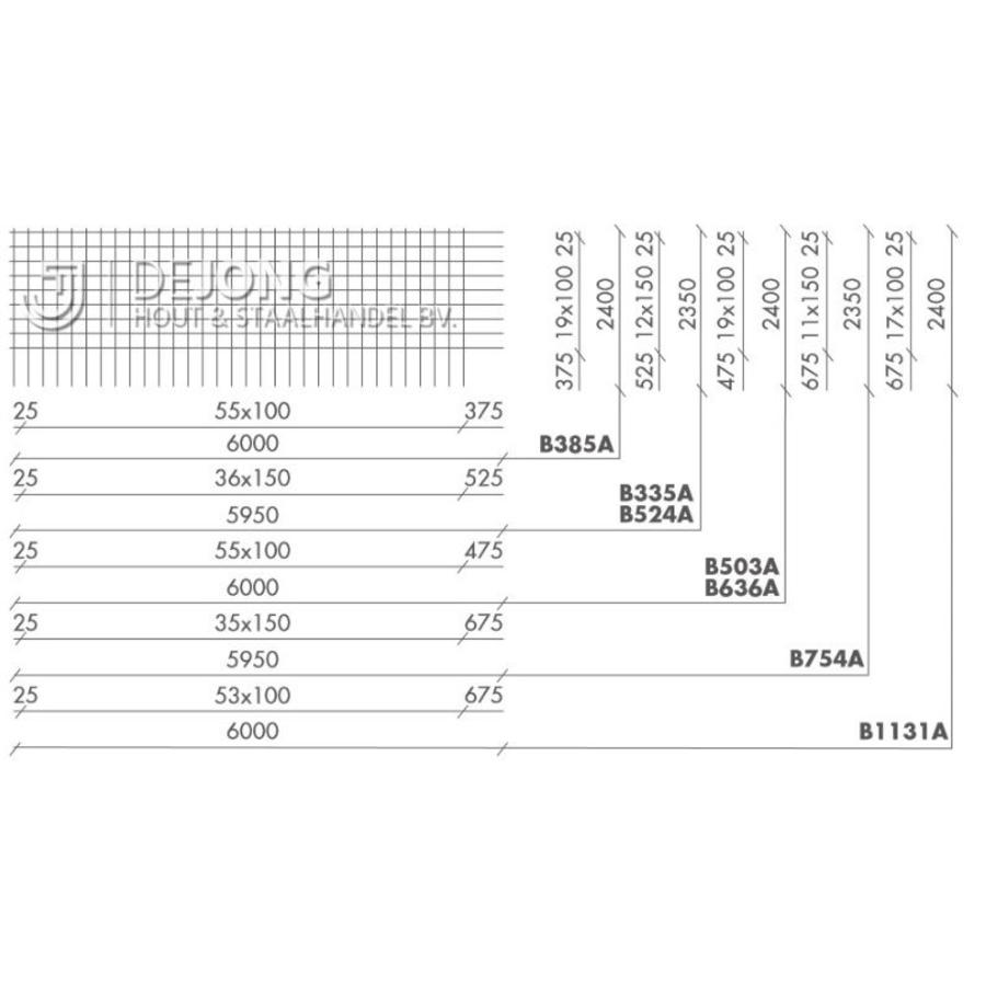 Bouwstaalmat B1131a Ø12-100 2.40 x 6.00 meter