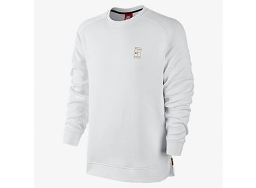 Court Fleece Crew White/White/Metallic Gold 744010 100