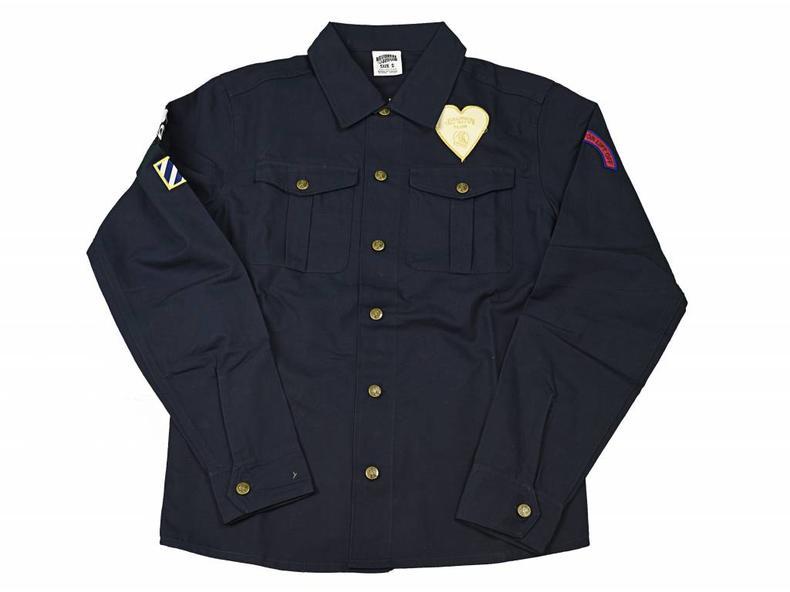 Nose Art Embroidered Shirt Navy B16502