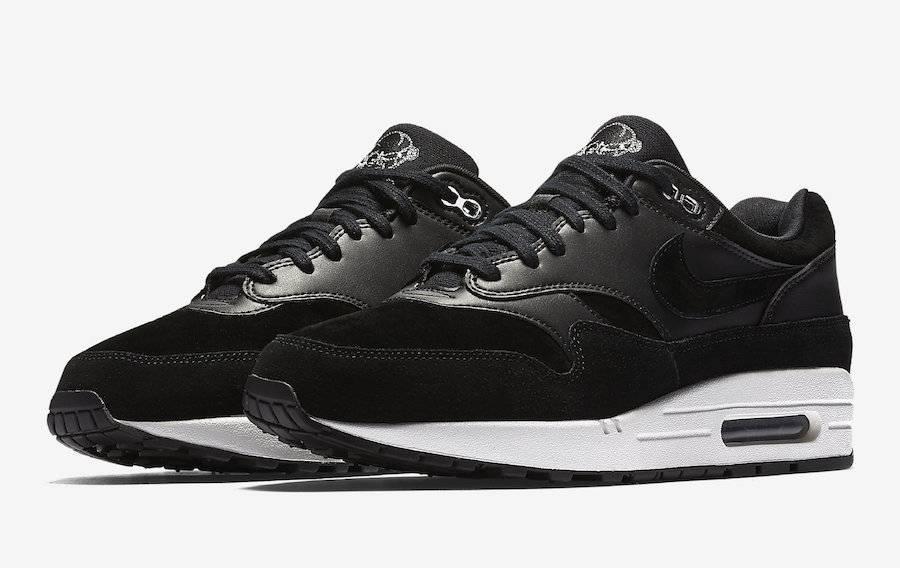 MEN'S Nike Air Max 1 PREMIUM Shoe Black Chrome Off White 875844 001