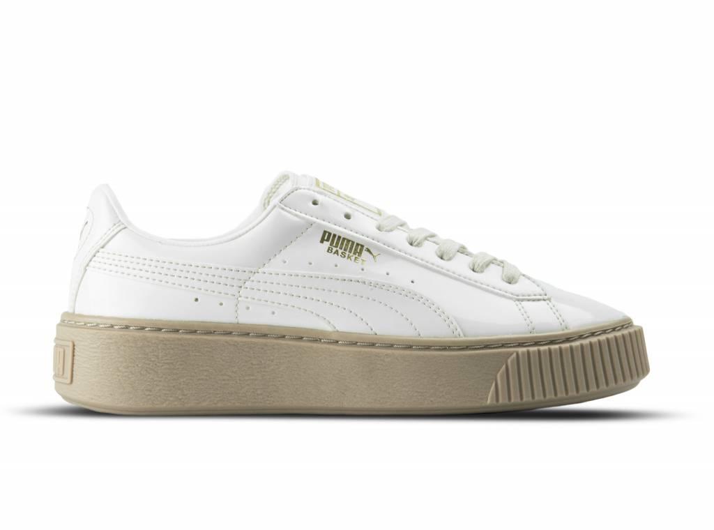 puma basket platform patent beige