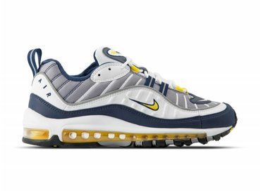 Nike Air Max 98 White Tour Yellow Midnight Navy 640744 105