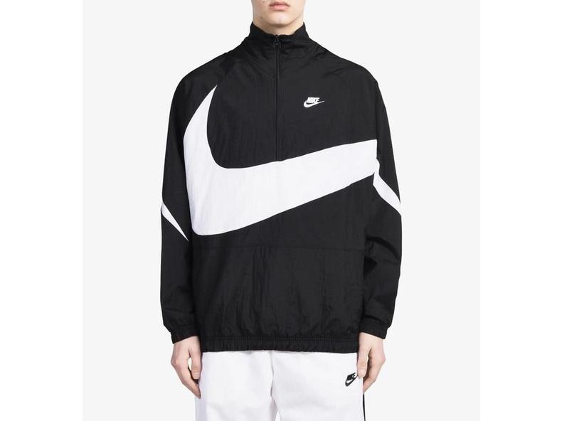 Swoosh Half Zip Jacket Black White AJ2696 010
