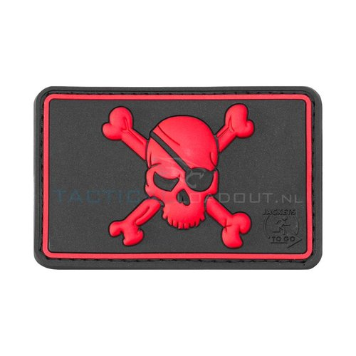 Jackets to Go JTG Pirate Skull PVC Patch Zwart