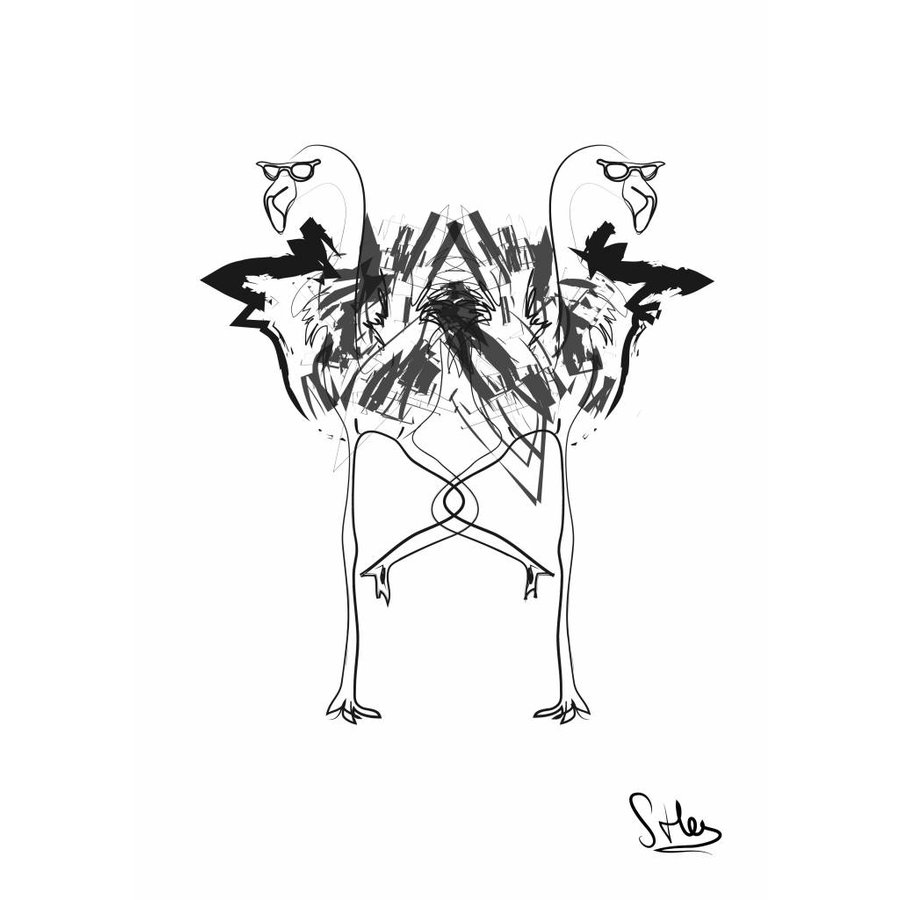 Flamingo (30x40) - Met lijst