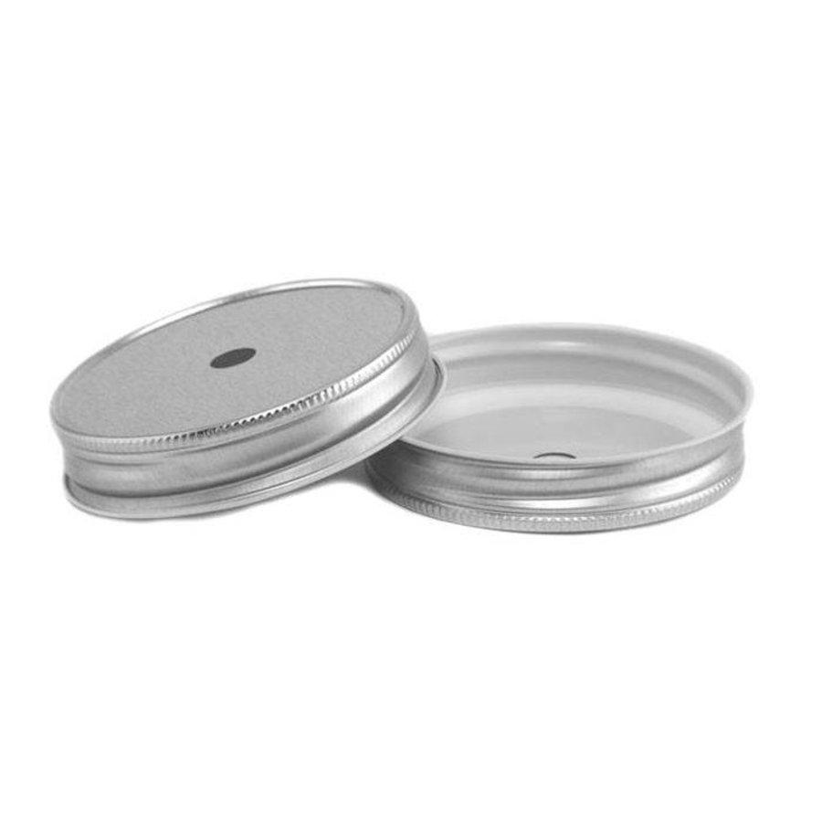 Deksel met opening Zilver - (8 stuks)