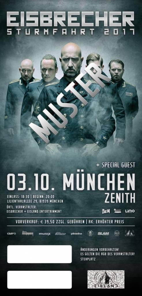 """EISBRECHER """"STURMFAHRT"""" 2017 MÜNCHEN / 6-FREUNDE TICKET"""