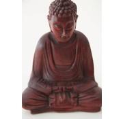 Boeddha mediterend hout 15 cm