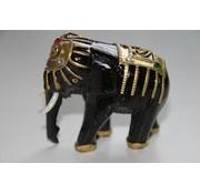 Houten olifant met goudprint en gekleurd glas MIDDEL
