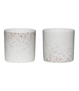 Bloomingville Teelichte Gesprenkelt 2 Stk. - Weiß Porzellan