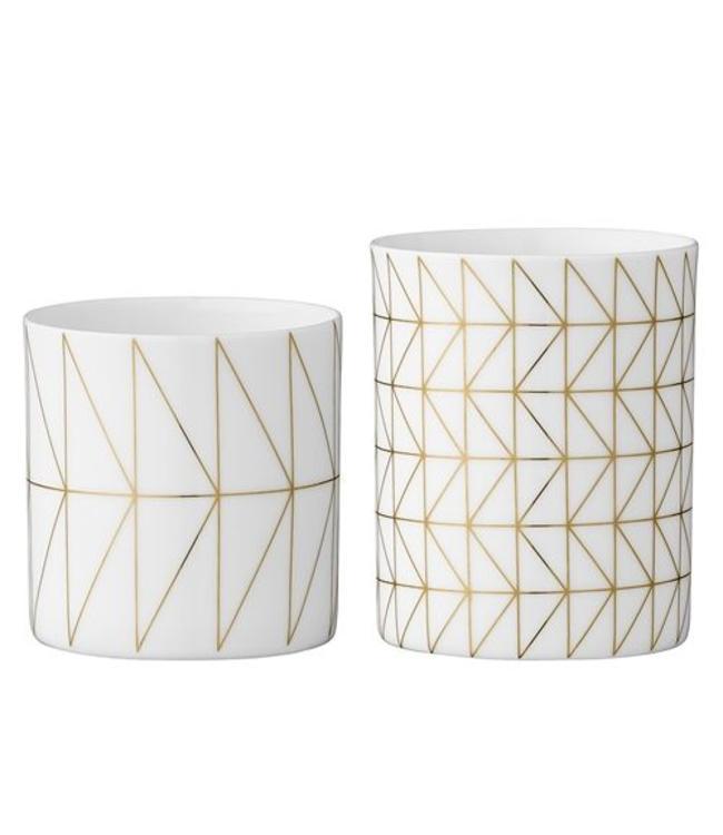 Bloomingville Teelichte Geometrie 2 Stk.- Weiß Porzellan