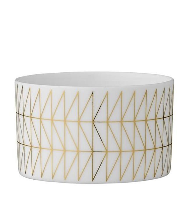 Bloomingville Votive Geometrie Teelicht - Weiß Porzellan