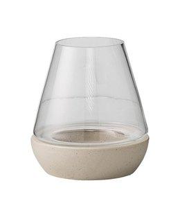 Bloomingville Lanterne Klein - Glas Mit Betonsockel