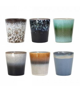 HK Living Tassen 70's Keramik Set von 6