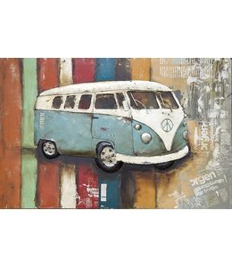 Retro VW Bulli 3D Metallbild