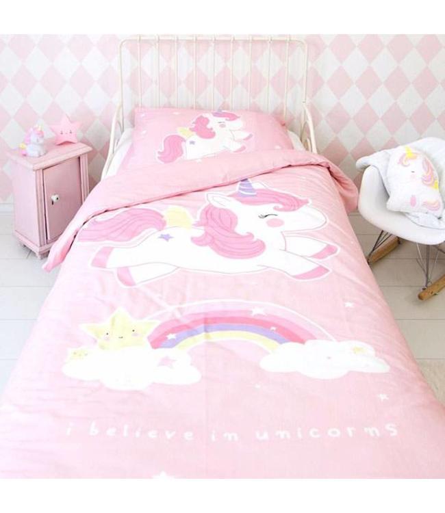 A Little Lovely Company Kinderbettwäsche Einhorn Rosa - 140x200cm
