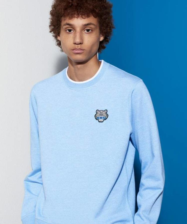 KENZO KENZO BABY BLUE BLENDED SWEATER WITH LITTLE GREY TIGER LOGO
