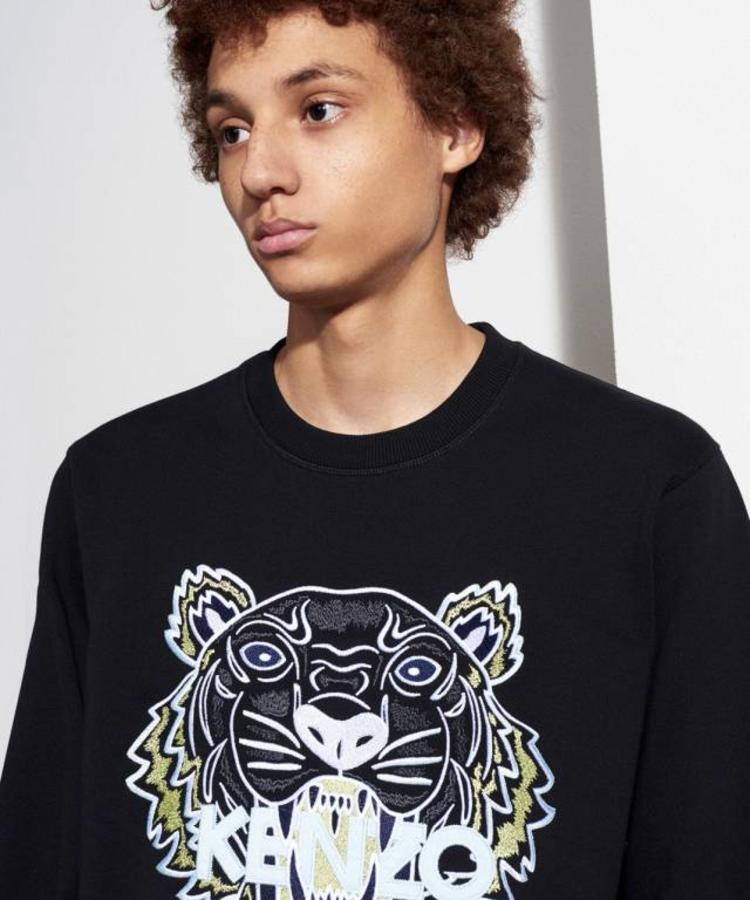 KENZO KENZO BLACK SWEATER WITH WHITE AND YELLOW TIGER LOGO