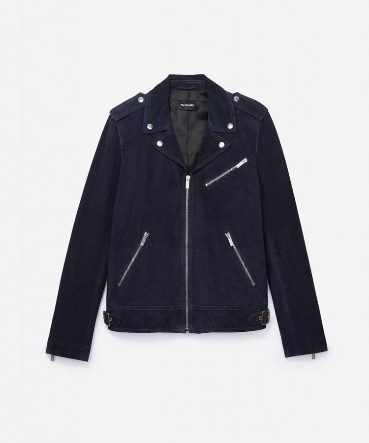THE KOOPLES THE KOOPLES NAVY BLUE SUEDE BIKER JACKET