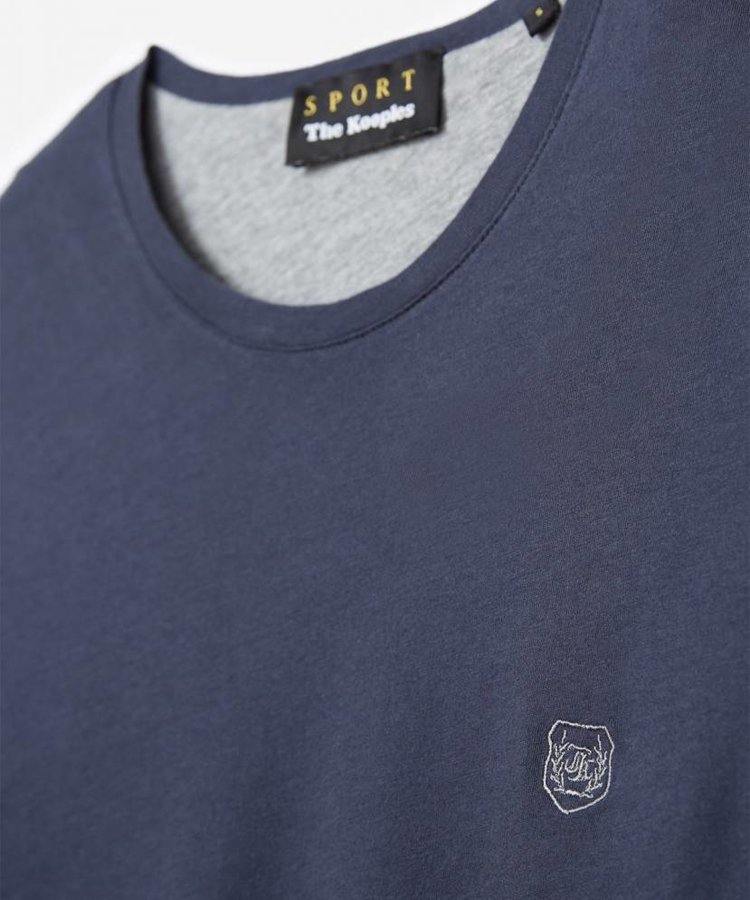 THE KOOPLES THE KOOPLES NAVY BLUE CONTRAST COTTON T-SHIRT