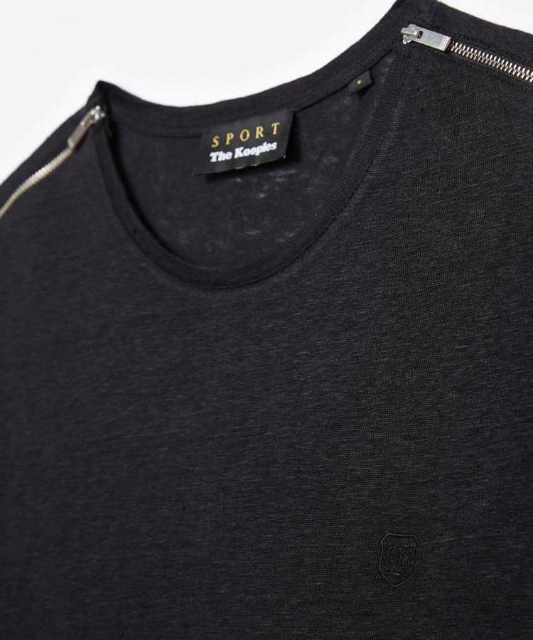 THE KOOPLES THE KOOPLES BLACK COTTON T-SHIRT WITH ZIPS ON SHOULDERS
