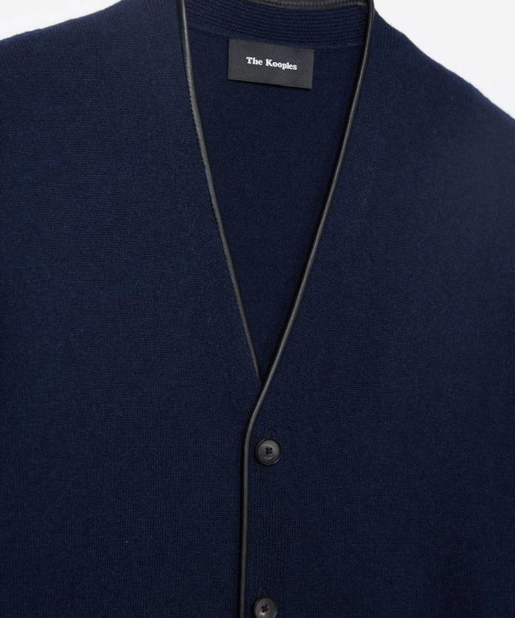 THE KOOPLES THE KOOPLES CASHMERE AND LEATHER NAVY CARDIGAN