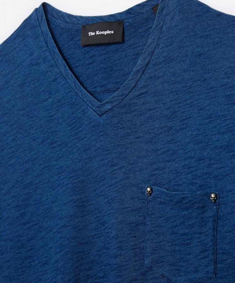 THE KOOPLES THE KOOPLES INDIGO BLUE COTTON CREWNECK T-SHIRT