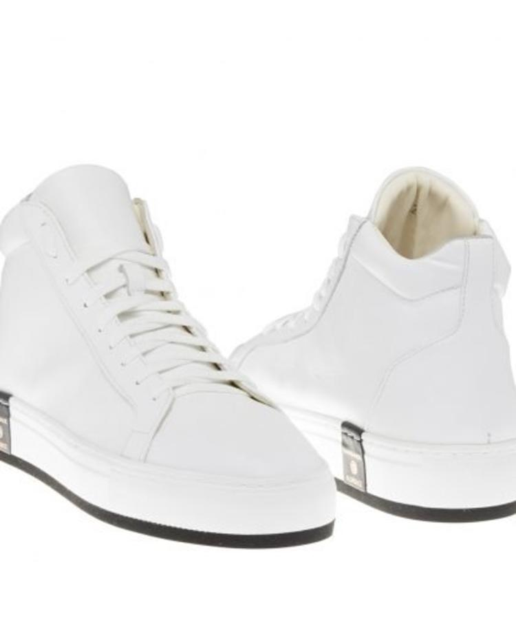 LE VILLAGE FIRENZE LE VILLAGE FIRENZE WHITE MID TOP CALF LEATHER SNEAKER