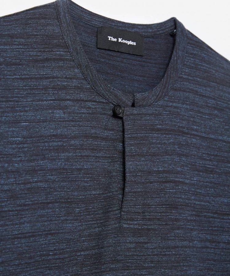 THE KOOPLES THE KOOPLES NAVY BLUE POLO JERSEY WITH LEATHER