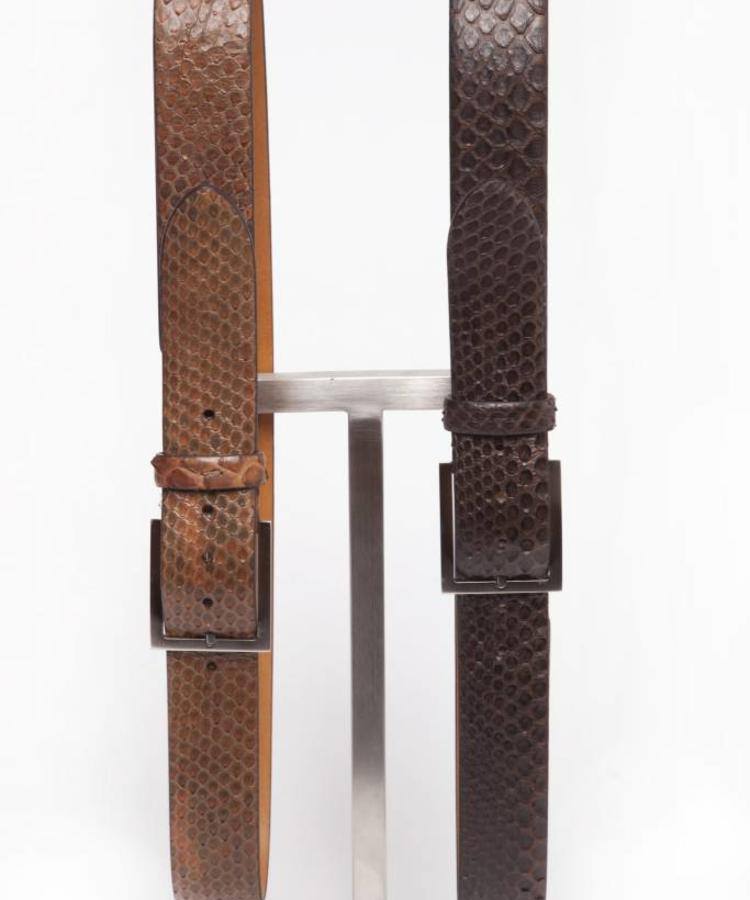 ANDREA ZORI ANDREA ZORI LIGHT BROWN PYTHON LEATHER BELT WITH SILVER BUCKLE