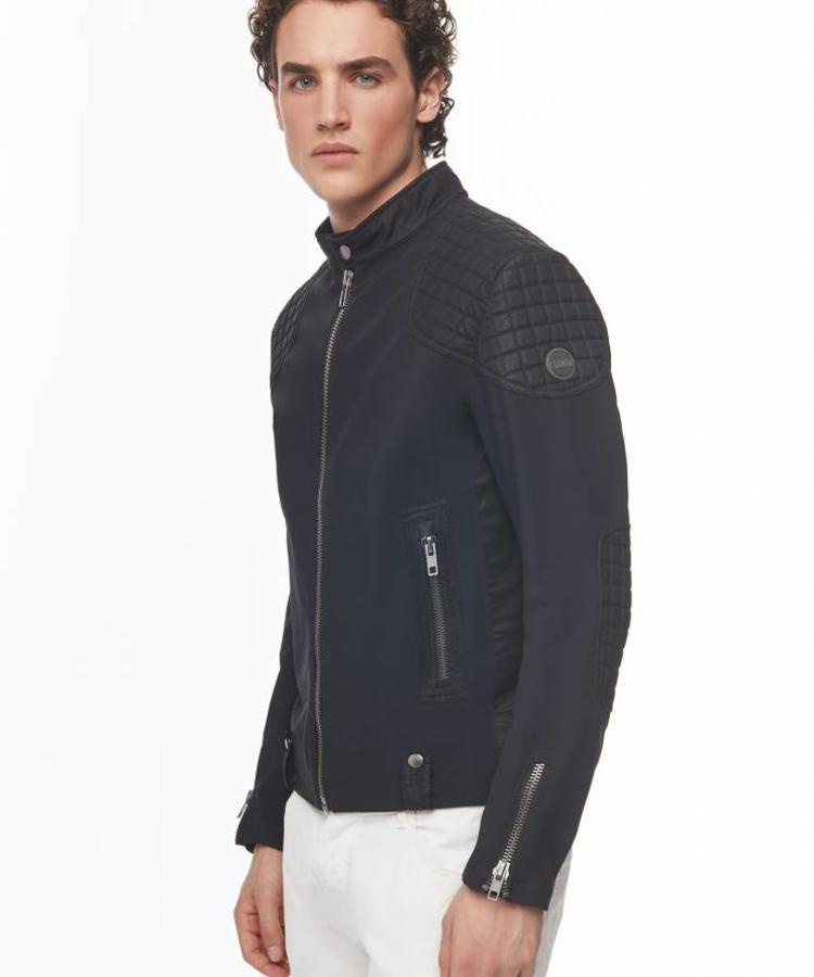 COLMAR COLMAR HELL MADE MEN'S BIKER JACKET BLACK-SAPPHIRE