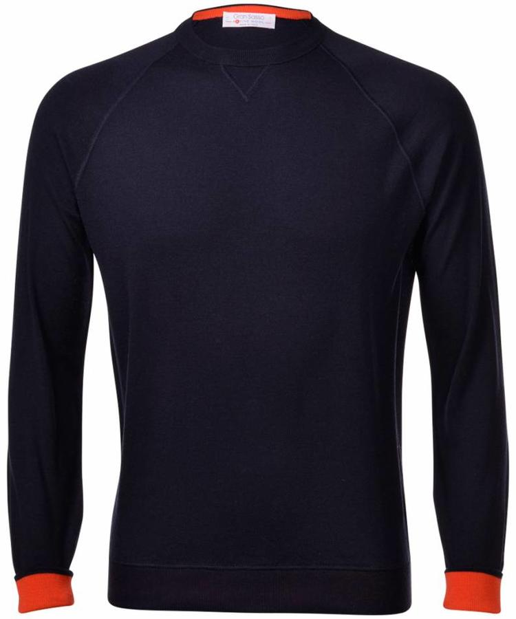 GRAN SASSO GRAN SASSO MIDNIGHT BLUE ACTIVE WOOL CREWNECK