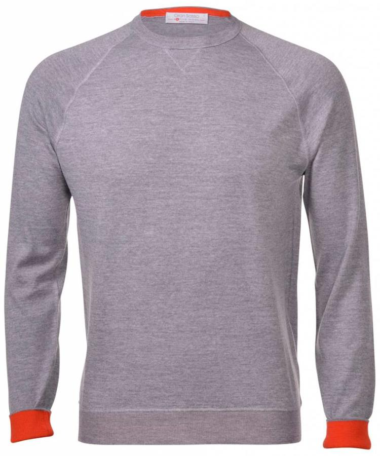 GRAN SASSO GRAN SASSO LIGHT GREY ACTIVE WOOL CREWNECK
